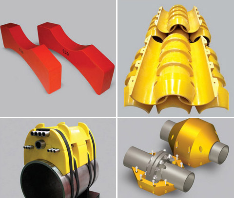 Piggyback clamps, saddles, centralisers, spacers and flange protectors